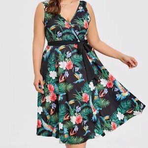 Rainforest Romance Midi Dress Faux Wrap 22/24 Plus